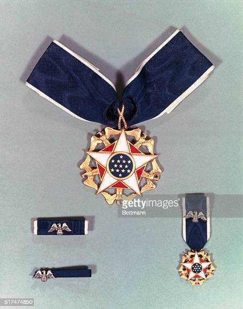 View of the Presidential Medal of Freedom designed by Army Institute of Heraldry and first granted in 1963 when it was established by President...