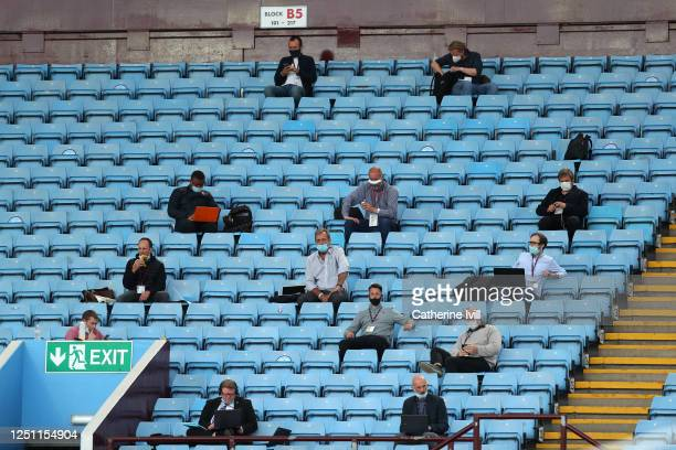 View of the press box during the Premier League match between Aston Villa and Chelsea FC at Villa Park on June 21, 2020 in Birmingham, England....