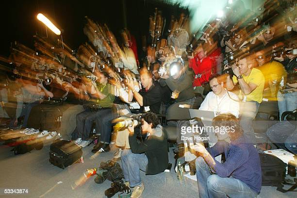 View of the press photographers during the MTV Europe Music Awards 2004 at Tor di Valle November 18, 2004 in Rome, Italy.