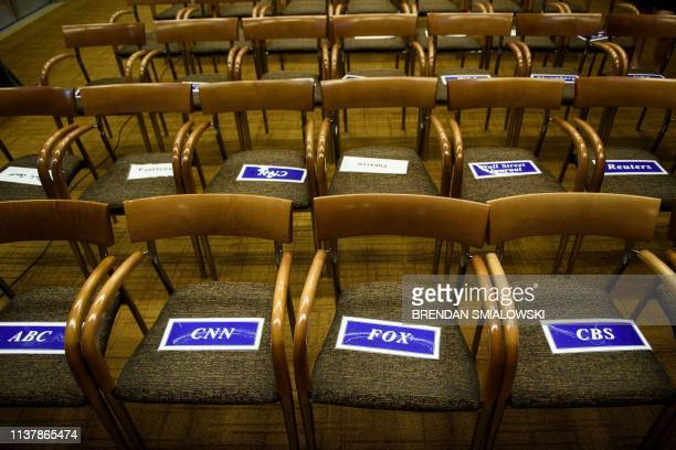 A view of the press room seating assignments before a press conference with US Attorney General William Barr about the release of the Mueller Report...