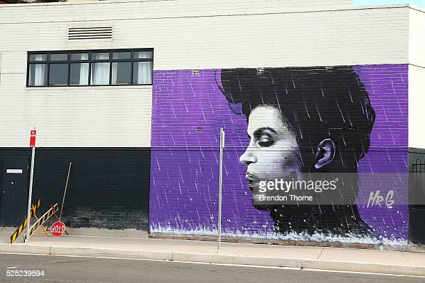 A view of the Prince mural on April 28 2016 in Sydney Australia The mural stands 7m high and 5m wide by Penrith local Graham Hoete on Sunday Rock...