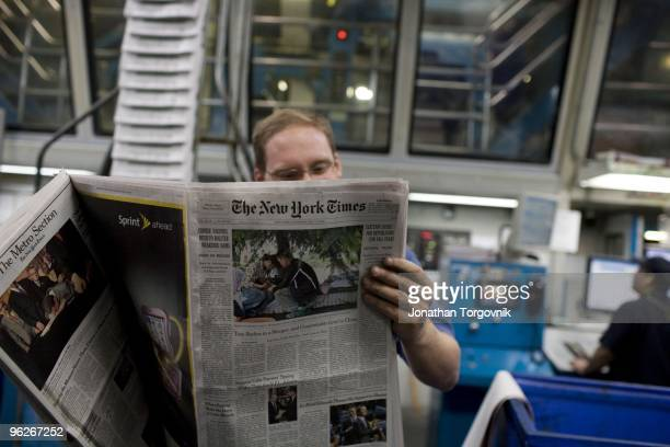 A view of the printing plant of the New York Times in College Point Queens on May 2008 in New York City Page one starts printing around midnight and...