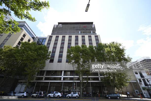 View of the private clinic where late former Argentine President and Senator, Carlos Saul Menem died in Buenos Aires on February 14, 2021. - Former...