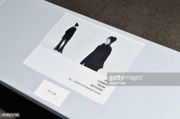 A view of the program for the All Comes From Nothing x COOME FW18 show at Gallery II at Spring Studios on February 14 2018 in New York City