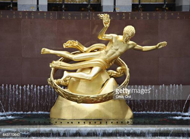 A view of the Prometheus statue as Meryl Davis and Charlie White visit The Rink at Rockefeller Center on February 22 2017 in New York City