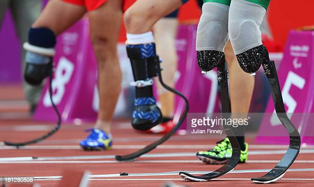 View of the prosthetics legs of Alan Oliveira Cardoso Oliveira of Brazil prior to the Men's 100m T44 heats on day 7 of the London 2012 Paralympic...