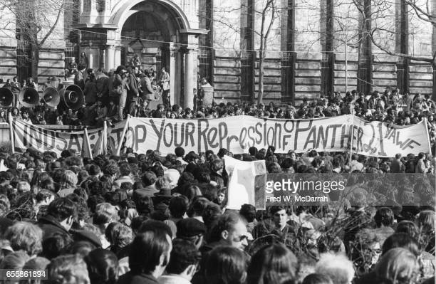 View of the protestors at an IRS tax protest New York New York April 15 1970 The large banner reads 'Lindsay Stop Your Repression of Panther 21' a...