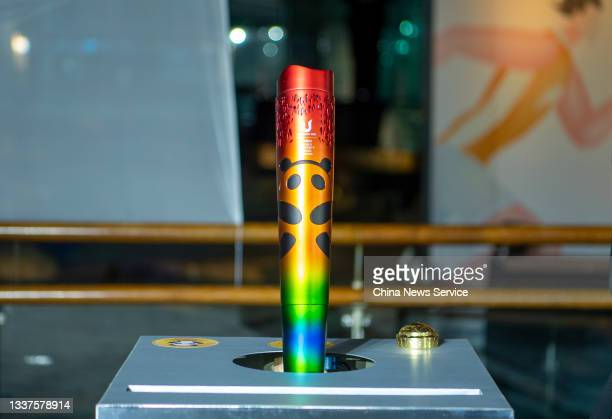 View of the prototype design of the Chengdu 2021 FISU World University Games torch during its unveiling ceremony on August 31, 2021 in Chengdu,...