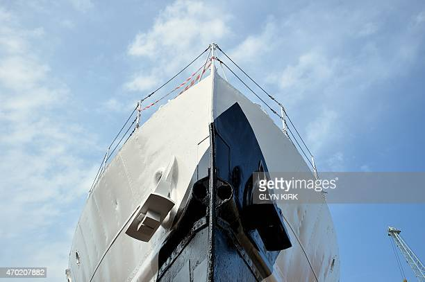 A view of the prow of the newly restored HMS M33 Minerva in Portsmouth's Historic Dockyard on April 16 2015 Britain's last surviving warship from...
