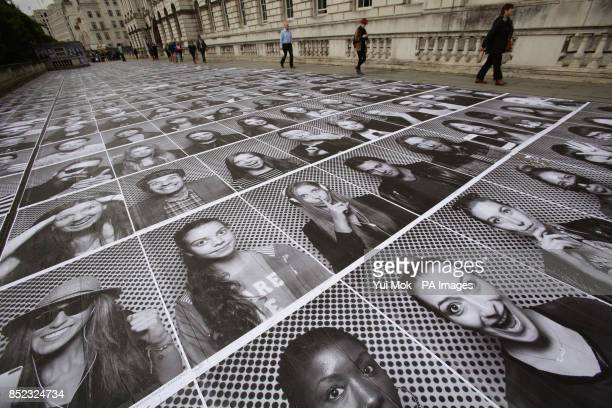 A view of the public art installation by French artist JR at Somerset House in central london part of the INSIDE OUT project which invites the...