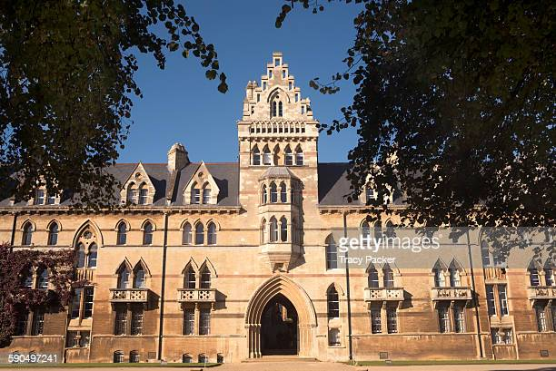 A view of the public entrance of the 'Meadow Buildings' one part of Christ Church College at the University of Oxford as seen from within a frame of...