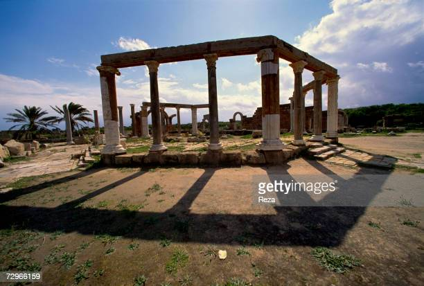 View of the public marketplace where sellers displayed their wares on limestone tables part of the ruins of Leptis Magna the largest city of the...