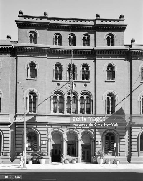 View of the Public Theater at 425 Lafayette Street, originally the Astor Library and onetime home to the Hebrew Immigrant Aid Society , New York, New...