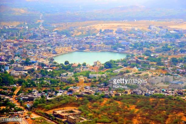 A view of the Pushkar Lake in the western Indian state of Rajasthan on July 03 2019 Pushkar lake is an important Hindu pilgrimage spot with thousands...