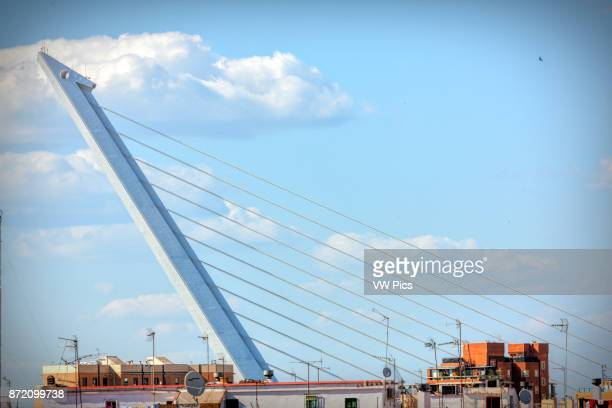 View of the pylon of Alamillo Bridge Seville Spain The Alamillo Bridge is a structure in Seville Andalucia which spans the Canal de Alfonso XIII...