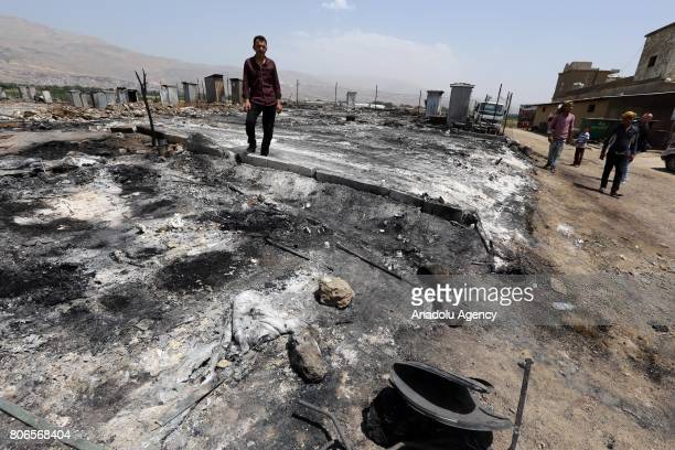 A view of the Qob Elias refugee camp after a big fire broke out on Sunday in Beqaa Lebanon on July 3 2017 Refugees reported that electricity might...
