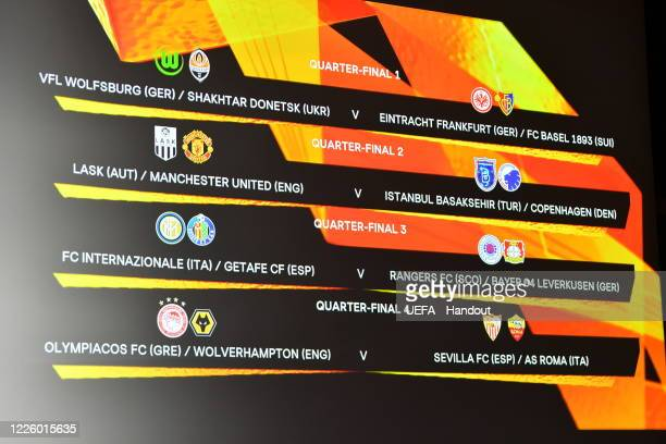 A view of the quarterfinal draw results as shown on the big screen following the UEFA Europa League 2019/20 Quarterfinal Semifinal and Final draw at...