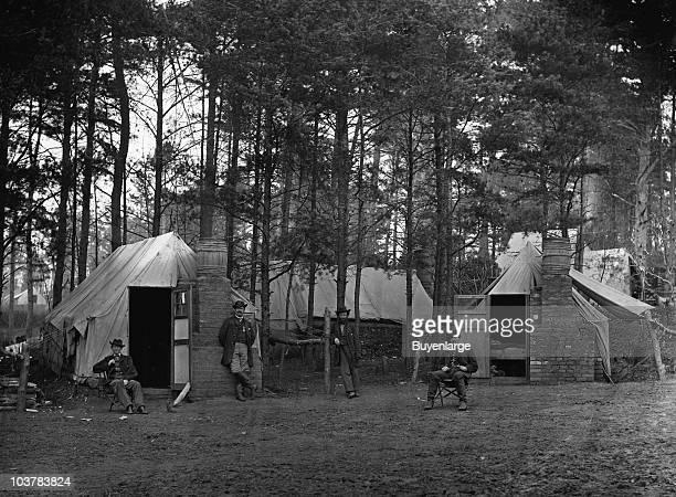 View of the quarters of Captain Harry Clinton quartermaster Provost Guard Brandy Station VA 1864