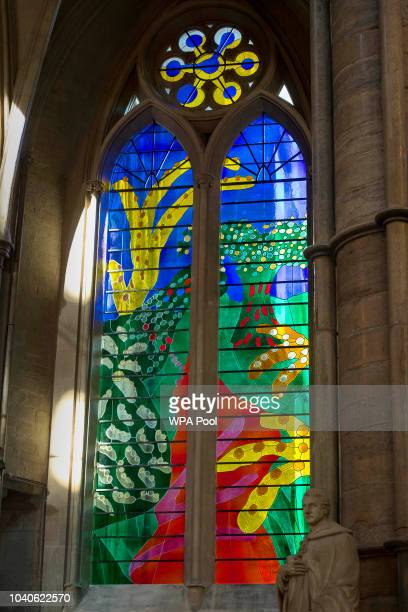 A view of The Queen's Window a new stained glass window at Westminster Abbey designed by David Hockney and created by Barley Studio York as it is...