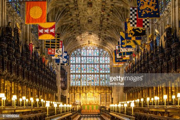 A view of the Quire in St George's Chapel at Windsor Castle where Prince Harry and Meghan Markle will have their wedding service February 11 2018 in...