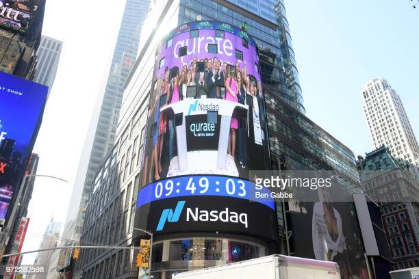 A view of the Qurate Retail Times Square Takeover during the 'New Qurate Retail Group' Opening Bell Ceremony at NASDAQ MarketSite on June 12 2018 in...