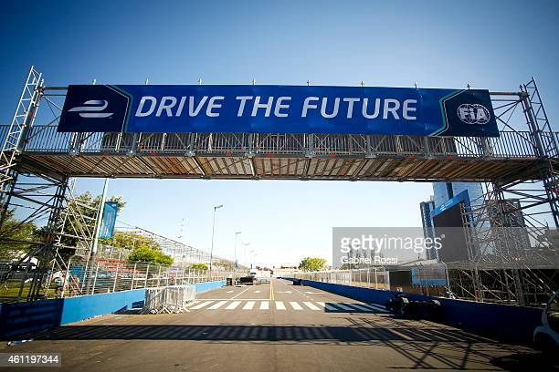 View of the race track during a paddock preview at Puerto Madero Street Race Track on January 08, 2015 in Buenos Aires, Argentina.