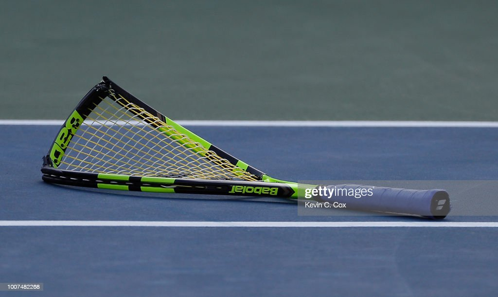 A view of the racquet of Ryan Harrison after he slammed it down on the court in the match against John Isner during the BB&T Atlanta Open at Atlantic Station on July 29, 2018 in Atlanta, Georgia.