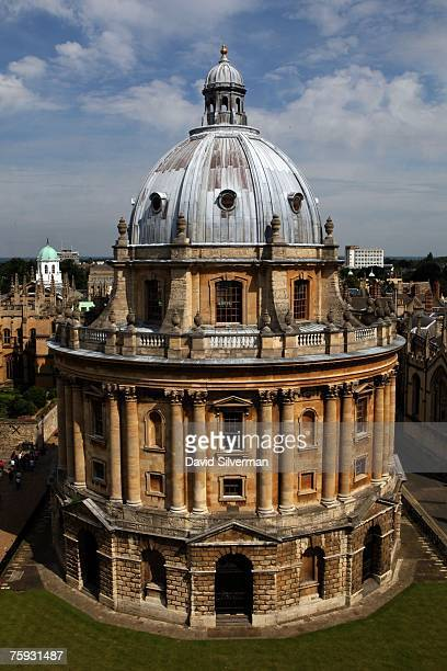 A view of the Radcliffe Camera an 18th century Oxford University building housing reading rooms of the Bodleian Library as seen from the tower of St...