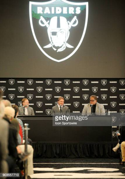 A view of the Raiders symbol above Jon Gruden Reggie McKenzie and Mark Davis during the Jon Gruden Press Conference on January 9 2017 at Raiders...