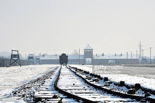 View of the rail way tracks at the former Nazi concentration camp AuschwitzBirkenau in Oswiecim Poland on Holocaust Day January 27 2014 The ceremony...