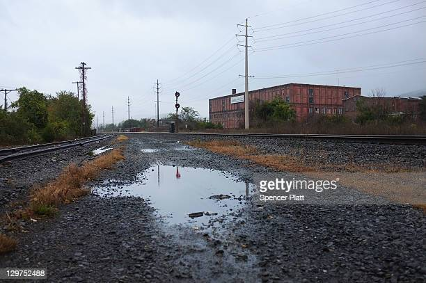 View of the railroad tracks in downtown Reading on October 19, 2011 in Reading, Pennsylvania. Reading, a city that once boasted numerous industries...