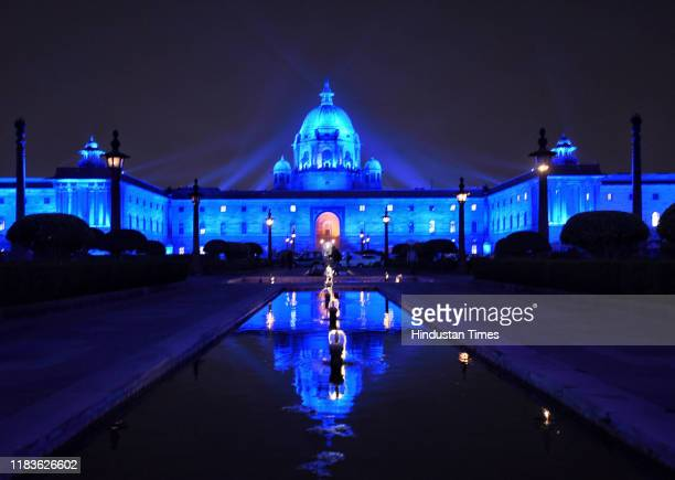 View of the Rashtrapati Bhavan illuminated in blue as a part of the CRC 30 years Celebration, on November 20, 2019 in New Delhi, India. UNICEF will...