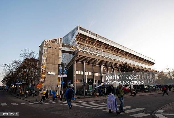 View of the Rasunda stadium in Stockholm on October 11 2011 ahead of the Euro 2012 Group E qualifying match between Netherlands and Sweden AFP...