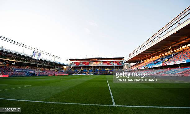 View of the Rasunda stadium in Stockholm on October 12 2011 ahead of the Euro 2012 Group E qualifying match between Netherlands and Sweden AFP...