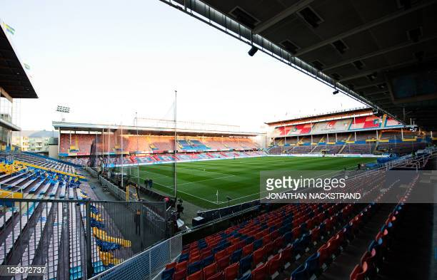 View of the Rasunda stadium in Stockholm on October 12 2011 ahead of the Euro 2012 Group E qualifying match between Netherlands and Swede AFP...