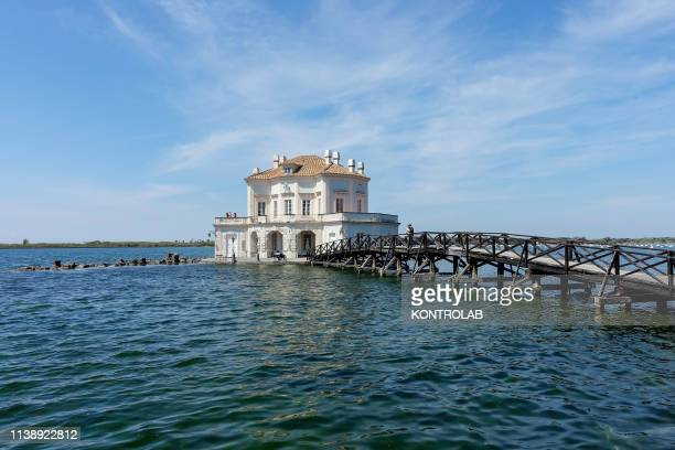 View of the Real house Vavitelliana in the Fusaro Lake built by the architect Vanvitelli the historic owners were the Bourbon in Bacoli country...