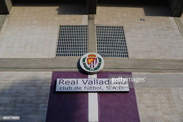View of the Real Valladolid CF emblem at the netrance of the Jose Zorilla stadium before the La Liga match between Real Valladolid CF and Real Betis...