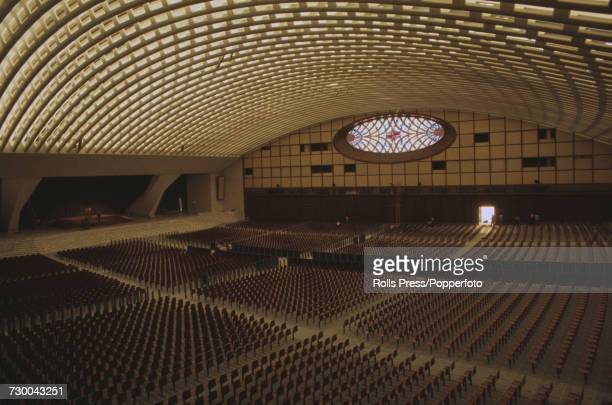View of the recently completed Paul VI Audience Hall designed by Italian architect Pier Luigi Nervi and built primarily from reinforced concrete...