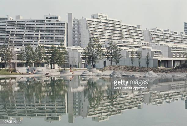 View of the recently constructed Olympic Village, located in the Olympiapark, built to house athletes competing in the upcoming 1972 Summer Olympics...