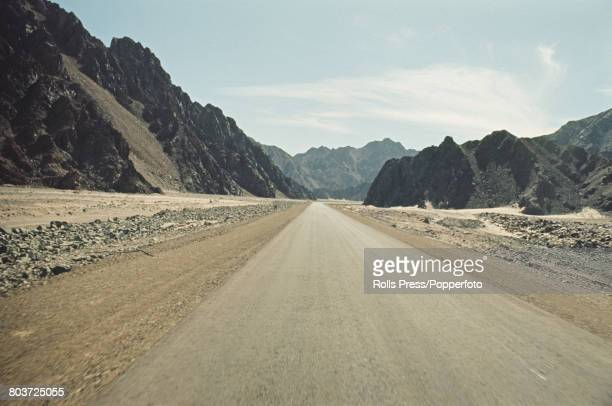 1971 view of the recently constructed road that runs from Sharm elSheikh through the desert of the Sinai Peninsula to the city of Eilat in Israel The...