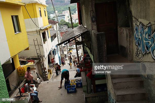 A view of the recently 'pacified' Santa Marta one of Rio's oldest slums or favela on December 3 2009 in Rio de Janeiro Brazil Santa Marta is one of a...