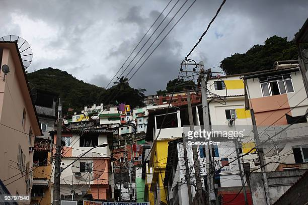 """View of the recently """"pacified"""" Santa Marta, one of Rio's oldest slums, or favela on December 3, 2009 in Rio de Janeiro, Brazil. Santa Marta is one..."""