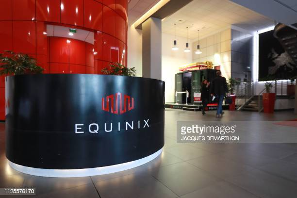 A view of the reception of the Equinix Paris data centre called PA8 Equinix's first International Business Exchange in the northern Parisian suburb...