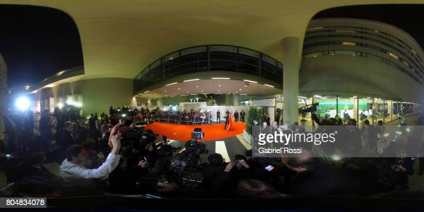 A 360 view of the red carpet as Uruguayan soccer player Luis Suarez and his wife Sofia Balbi pose for pictures during Lionel Messi and Antonela...