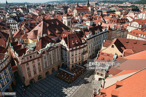 View of the red roofs of old town square Stare Mesto, Prague, Czech Republic