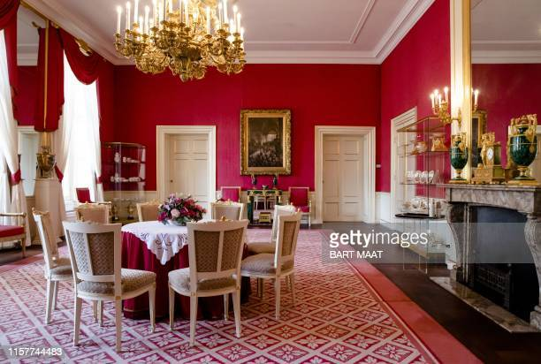 View of the Red Saloon in Noordeinde Palace, ahead of the Summer opening, in The Hague, on July 26, 2019. / Netherlands OUT