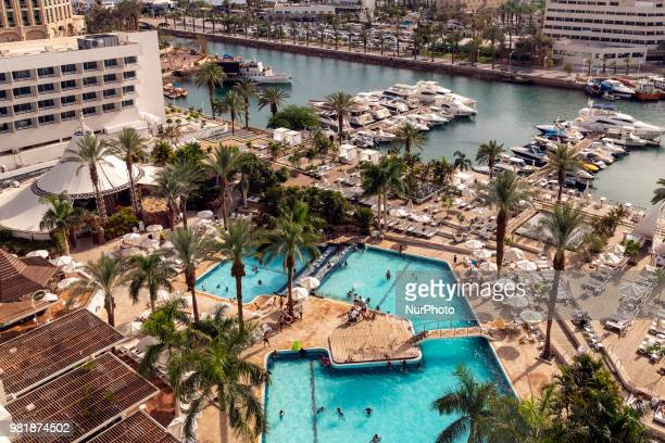 View of the Red Sea resort city of Eilat, Israel on June 18, 2018. Eilat a popular travel destination, is the southernmost city in Israel and shares...