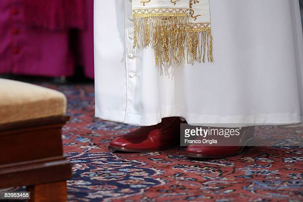 View of the red shoes worn by Pope Benedict XVI during the celebration of the Immaculate Conception at Spanish Steps, December 8 in Rome Italy.