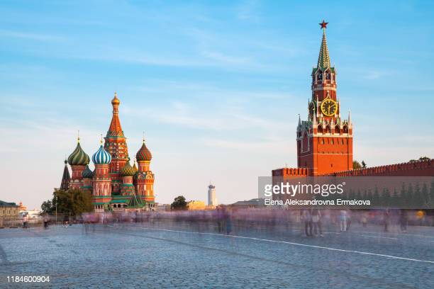 view of the red square with st. basil's cathedral and spasskaya tower, moscow, russia - red square stock pictures, royalty-free photos & images