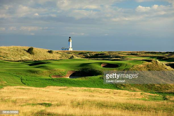 A view of the redesigned 171 yards par 3 sixth hole of the Ailsa Course at the Trump Turnberry Resort on July 19 2016 in Turnberry Scotland